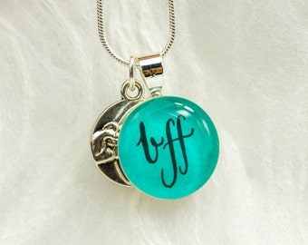 BFF Necklace, Pinky Promise Necklace, Unique Friendship Jewelry, Gift for Best Friend, Handmade, Best Friend Jewelry, Teen Jewelry, Teal