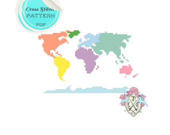"Small ""Continental Hustle"" Continent World Map. Cross Stitch Pattern. Digital Download PDF."