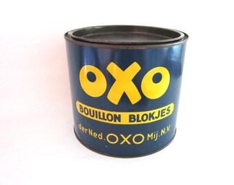 Vintage Dutch OXO Tin, Bouillon Blokjes, Liebig Beef Bouillon Cubes