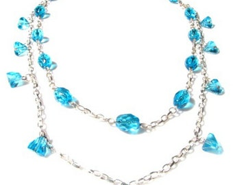 20 inch Double Strand Silver Chain and Aqua Blue Glass Bead Necklace.
