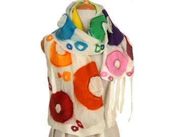 SALE!!! nuno felted artistic scarf, colors of summer silk felt wool nuno felted wearable scarf, felted nunofelted shawl, felted wool scarf