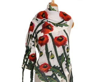 SALE!!! nuno felted scarf red poppy flowers white silk green wool nunofelted artistic wrap scarf felted shawl,eco silky felted wool scarf