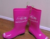 SALE extra 10 dollars off SIZE 8-9 Seattle Seahawks Superbowl Pink Replica NFL Rainboots Seattle Seahawks 12th Man wellies