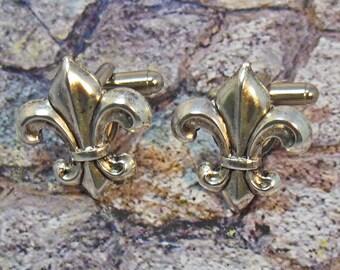 FLEUR DE LIS  New Orleans Cufflinks Silver Cuff Links