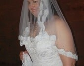 Lace Veil Elbow Made to Order Blusher 2 Tiers Crystals