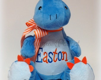 Personalized, Monogrammed Blue Dinosaur Plush Stuffed Animal, Soft Toy