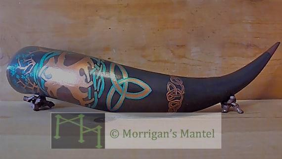 CUSTOM OOAK Tree of Life Yggdrasil Celtic viking Drinking Horn with custom runes or ogham name inscription