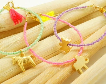 Pastel Kids Animal Beaded Bracelets with Tassels - Gold or Silver Bear Elephant Pony Charms - Neon Children Gift - Pink Mint Purple