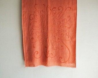SALE Japanese Chic Natural Madder dyed Katagami Chrysanthemum pattern Wool-Linen scarf