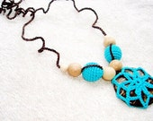 Nursing Necklace Coconut button Teething necklace Baby necklace Blue brown Boho Style Ecofriendly Babywearing  necklace Breastfeeding