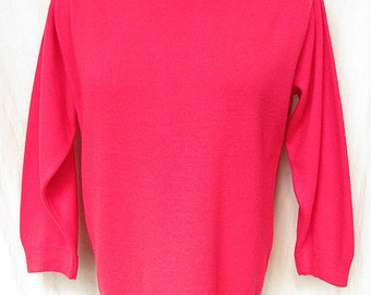 Vintage 1960s Sweater Hybiscus Pink Knit Top Roll Collar Drawstring Waist House of Morrison