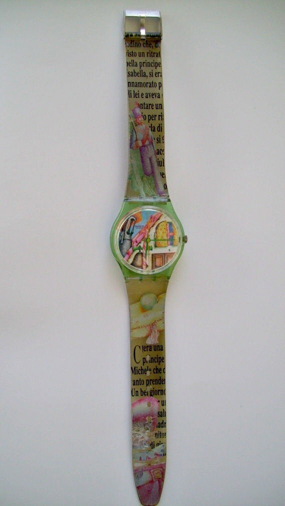 RESERVED for Ingrid.No for Sale. Fairy Tale Swatch Watch 90s Unisex Quartz Swiss Watch Le Chat Botte