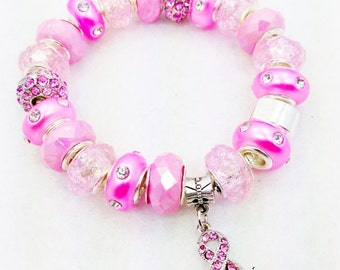 Pink Breast Cancer Awareness European style Bracelet
