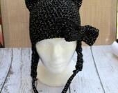 Crochet Black Cat Hat - Animal Hat - Halloween Hat - Costume Accessory - Newborn Photo Prop - Crochet Baby Hat - Infant - Child