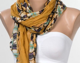 NEW  Mustard and Black and Green SCARF. Elegant Shawl. Soft Cotton Light Weight Scarf. FREE Shipping