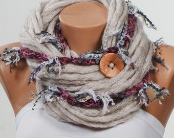 STONE and Fuschia and Pink Scarf. Loop Crochet Scarf. Fall infinity scarf. Valentine circle neckwarmer. Chunky scarf.