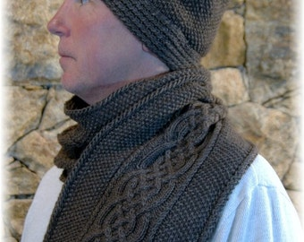 """Scarf & Hat Set/Combo for Men, hand knit in natural Yak-Bamboo Blend """"Vancouver Island"""" - a perfect  gift for any occasion"""