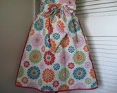 Ladies Half Apron, Retro Style Apron, Multi Floral Print, Teal, Red, Pink, Orange, Green - jacquiesews
