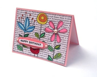 Happy Birthday card, Pink flower garden note card, Birthday wishes for her, cute floral birthday card,