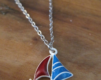 Sail Boat Necklace - Blue and Red Sailboat Necklace - Small Boat Necklace
