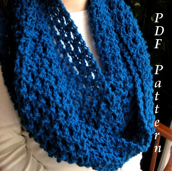 Knitting Pattern For Long Scarf : Items similar to Mesh Infinity Scarf, Knitting Pattern, Very Long Cowl, PDF T...