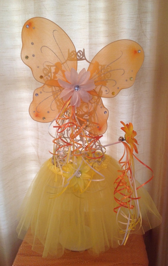 Candy Corn Halloween Costume Fairy Tutu, Fairy Wings and Wand Dress Up Set, Halloween Party Favors