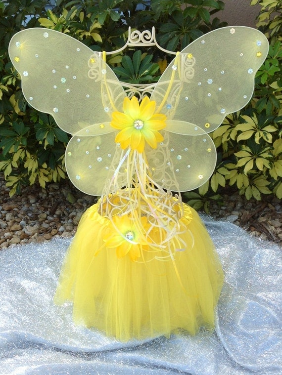 Princess Fairy Yellow Tutu Ballet, Yellow Fairy WingsPrincess Party favors, Tinkerbell Party, Princess Favors, Ballet party, Dance Recital