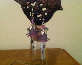 Light and Dark Purple Flower Earrings