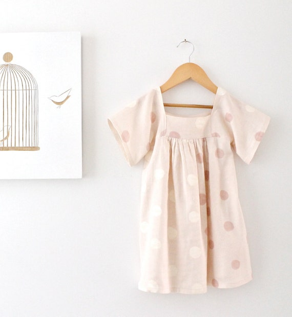 Toddler Girls Dress-Pink and Cream Spot-Cotton Double Gauze--Retro Fashion-Baby Dots Dress-Children Clothing by Chasing Mini