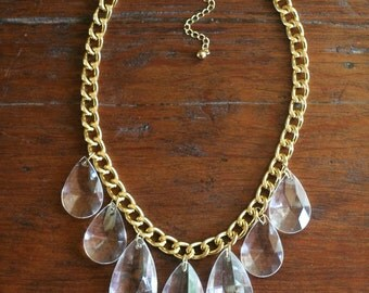 Clear Teardrop Statement Necklace on Chunky Gold Chain, Clear Statement Necklace