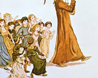 1800s Pied Piper of Hamelin KATE GREENAWAY Double Print Ideal for Framing