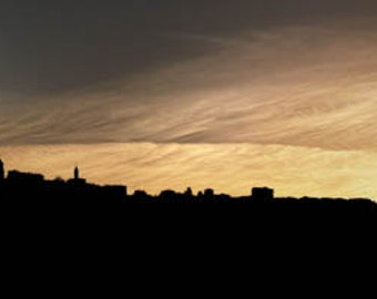 Panoramic art print. Archival pigment  print Barolo, Italy at the crest of the hill as the setting sun lights up the sky