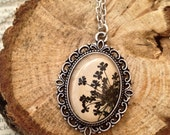 Black Flowers - Pressed flower vintage pendant, nature necklace real flower jewelry with black Queen Anne flowers and glass on beige leather