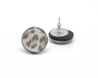 Stud earrings leopard pattern black polymer clay ear posts 15mm round