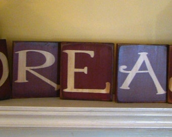 DREAM Whimsical Wooden Primitive 5 Piece Wooden Signs