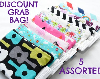 5 Snack Sandwich Bag Set - Reusable - Zippered - Grab Bag - Discount - Clearance - Sale - Waterproof - Lunch - Pouch - Food - Mix - Assorted