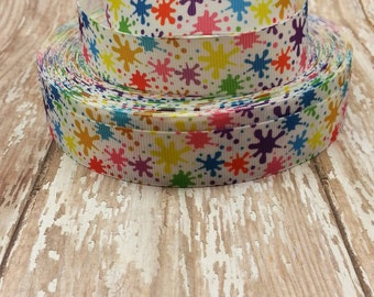 7/8 Grosgrain Splatter Paint Ribbon 1 yard cut