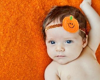 Baby Headband, Fall Headband, pumpkin Thanksgiving headband, newborn photo prop, infant headband, First thanksgiving, baby accessories