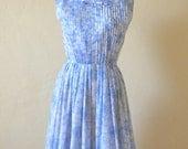 RESERVED vintage 50s dress / printed cotton sleeveless dress / Sketched Flora Dress