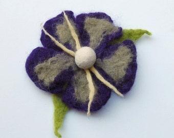 Flower pin felt brooch purple flower hair clip, flower felt pin, corsage, jewelry, felt flower brooch pin, felt jewelry pin, brooch jewelry