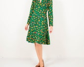 Vintage green flower midi dress women's size small / medium