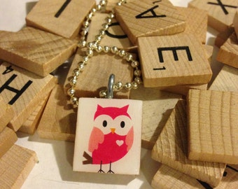 Pink Owl Scrabble Tile Neckalce With Ball Chain Necklace