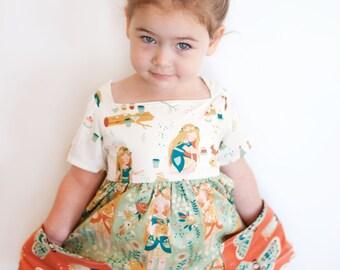 Sally Dress Sewing Pattern Vintage Modern Large Pockets Square Neckline No Closures Size 2T-8