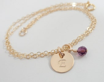 Gold Filled Initial Bracelet with Swarovski Birthstone - Hand Stamped Mommy Jewelry