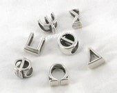10x6mm Greek Alphabet Sliders - fits 10mmx6mm Regaliz Leather Jewelry Supplies and Beads