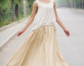 Linen Dress, sleeveless dress, maxi dress, linen maxi dress, long dress, plus size dress, summer dress, casual dress, dress (C153)