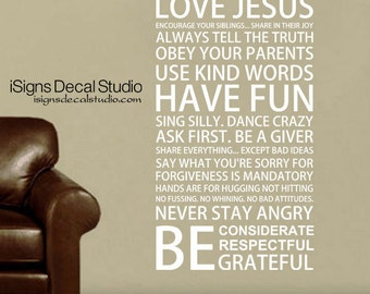 FAMILY RULES DECAL - Family Room Wall Decal - House Rules - Rules Wall Decal