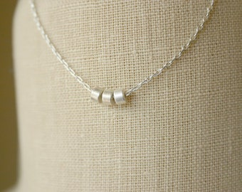 Sterling silver necklace with three silver beads / Simple silver necklace / Everyday necklace / Layering necklace