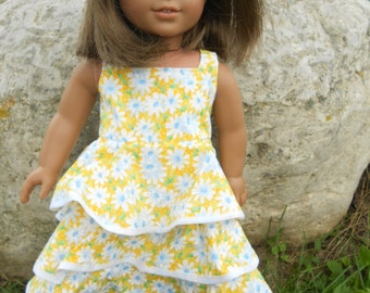 Yellow Flower dress for American Girl doll and 18 inch dolls