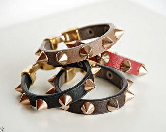 Spikes leather bracelet
